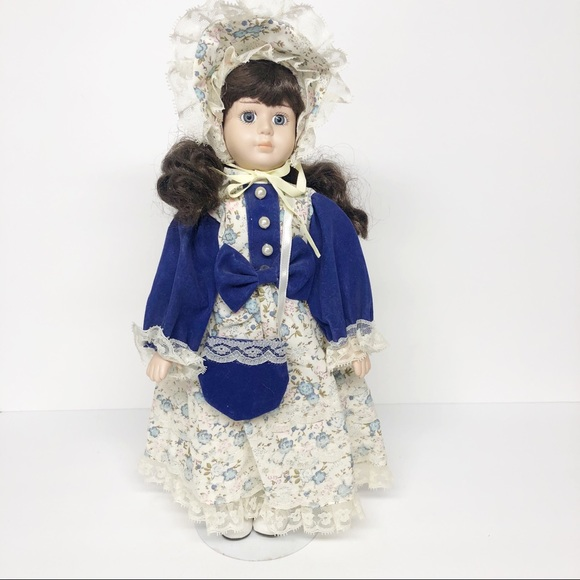 Vintage Porcelain Doll in Blue Velvet Dress